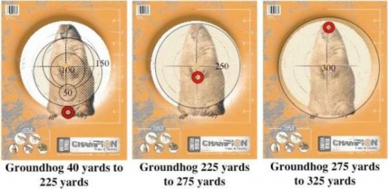 Aimpoints for groundhogs at several ranges