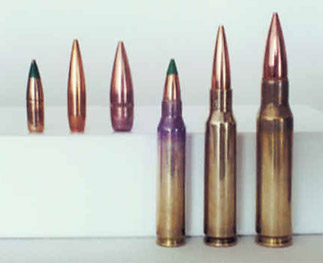 "Figure 1. The 6mm Optimum (center cartridge) is a necked down .25 Remington with a case capacity of about 43 gr water.  More volume could be attained by lengthening the case and shortening the neck to so the overall length is the same as the 7.62X51 (right)""]<img src=""http://localhost/~josephsmith/wordpress/wp-content/uploads/2010/03/6mmopt323x263.jpg"