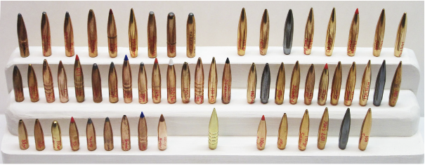 Figure 12. This photo shows only about half of the more than 100 bullets available for the Grendel.