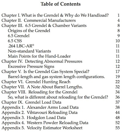 Table of contents for 6.5 Grendel Reloading Handbook Volume 1