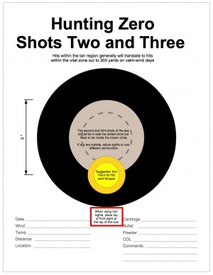 Figure 2. Hunting Zero Target #2. Use this target at 100 yards for the second and third shots in each of five range sessions using the same sight settings. Clicking on the picture downloads a PDF of the target that may be printed and used on the range.